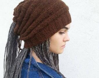 Dreadlock Hat, Dreads Beanie, Dread Wra  ,  Brown Hat, Rasta Beanie cap, Dread Tube, Hats for dreads, Rasta Hat, Long Hairhat, Ready to ship