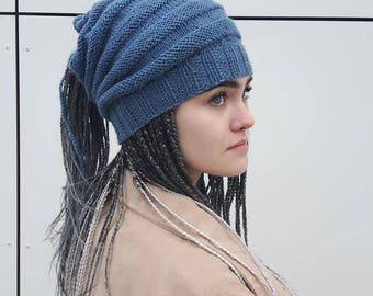 Gray-blue Dreadlocks Hats, Dreadlocks  Headband, Handmade Dreadlocks Slouchy Hats, Handmade Knitting Hats, Oversize Hats,  Ready to ship
