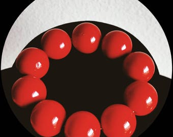 Retro Red Chunky Cherry Bead Bracelet Statement Jewelry Fire Engine Red Bridesmaids Gift