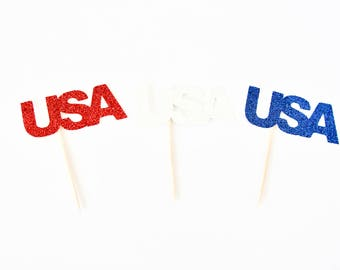 Red White and Blue USA Cupcake Toppers - Set of 12 - Fourth of July Party, 4th of July Decor, Independence Day Party Decor