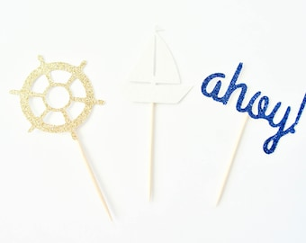 Nautical Cupcake Toppers - Set of 12 - Baby Shower Decor, Ahoy, Sailboat, Ship Wheel, Nautical Party Decor