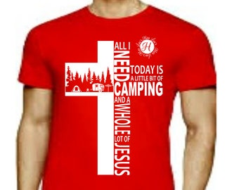 Camping All i need is camping and a whole lot of Jesus cross, tent, trailer outdoors  SVG  Cut file  Cricut explore file  t-shirt design