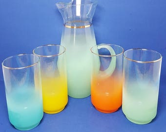 Vintage Blendo Tall Pitcher With Four Colorful Tumblers - Set - Frosted Glass by West Virginia Glass