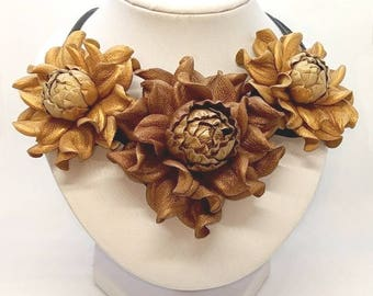 Statement GENUINE LEATHER old copper & copper gold roses bib necklace collar, trendy real leather flower choker, floral rose collar necklace