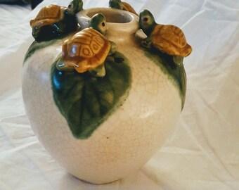 Vintage Majolica Ceramic Frog Vase-