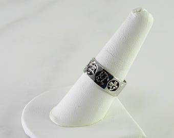 Chinese Symbols Sterling Ring Size 8.75+