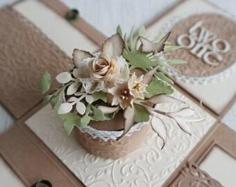Vintage Wedding Invitation, Shabby Chic Wedding Exploding Box, Greenery Wedding Invitation, Kraft Paper Invitation Box, Boxed Wedding Invite