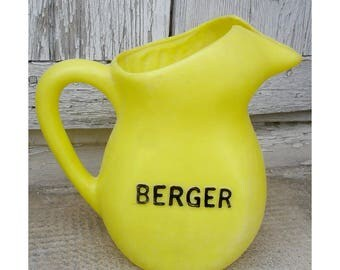 Vintage French water pitcher, yellow Berger Anisette water pitcher, plastic water jug, Bistro jug, French retro water jug,  made in France