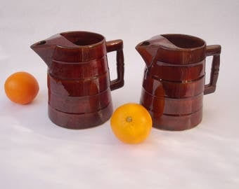 French vintage pitchers,  two vintage high glaze pottery jugs, traditional French water or wine pitcher, French bistro jugs, French barware