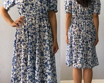 Vintage Blue and White Swirl Print 1980's 80's Secretary Midi Dress by California Looks