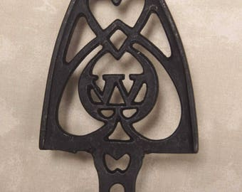 ANTIQUE TRIVET with W and HEART Motif: Cast Iron from Early to Mid 1900's and Possibly made by Wilton - Silky Smooth  # 15