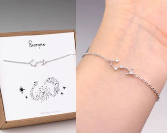 Scorpio bracelet, horoscope bracelet, constellation bracelet, zodiac jewelry, horoscope jewelry, scorpio jewelry, zodiac bracelet, gift