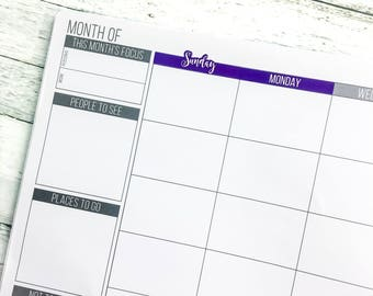 Days of the Week- Monthly | Passion Planner Stickers for the Classic and Compact Size