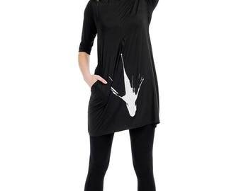 Black Summer dress, Oversized dress - SHARK?