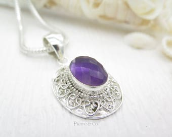 Antique Checkerboard Cut Amethyst Sterling Silver Pendant and Chain
