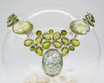 Lab stimulated Rutilated Quartz and Citrine Sterling Silver Necklace
