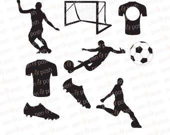Soccer SVG - Soccer Ball SVG - Soccer Monogram SVG - Soccer Clipart Bundle - Soccer Silhouette - Soccer Dxf - Soccer Cut Files