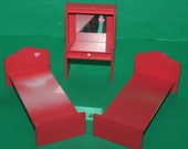 Vintage Dolls House Barton Red Twin Beds And Dressing Table Lundby Size