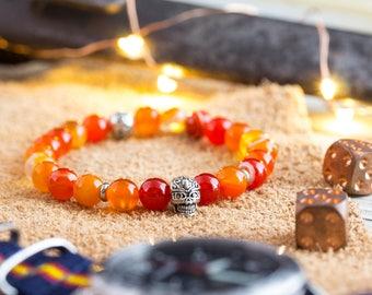 8mm - Orange agate stone beaded stretchy bracelet with silver skull, orange bead bracelet, mens bracelet, orange bracelet, orange bead