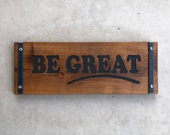 Industrial Style Wood Sign / Inspirational Sign / Motivational Sign / Custom Wall Decor / Custom Engraved Sign