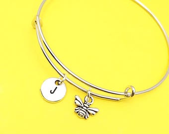Bumblebee Bangle, bee charm bracelet, Queen bee jewelry, bumble bee bracelet, custom bee jewelry, personalized,initial, honey bee, Bee gift