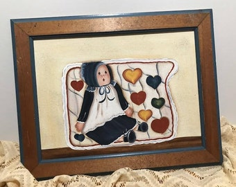 """Lovely original Wooden Vintage Paint by the Artist SUSAN 19.5""""X15.5"""""""