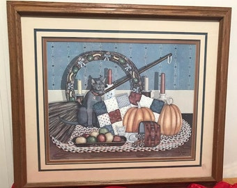 """Vintage Lithograph Collection """"Mr. Grey Autumn""""  Art Work Signed By Pat Pearson Including Certificate Affidavit of Limited Edition"""