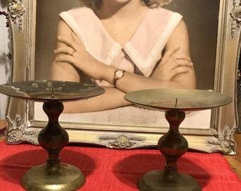 Vintage Set of Big Brass Candleholders