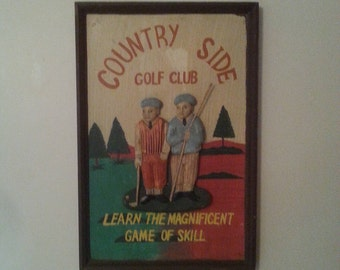 Vintage Golf Picture Country Side Golf Club Handmade Hand Carved Hand Painted Man Cave Home Decor