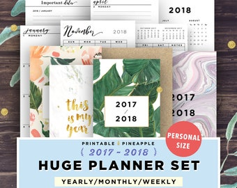 PERSONAL SIZE, 2017-2018 Planner, Printable Planner 2018, Daily Planner, Weekly Monthly Yearly, Covers, Ring Bound, Filofax Personal Agenda