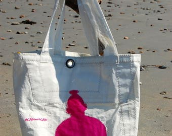 Pink/Orange Buddha- Small Recycled Sail Bag - Every Day Tote