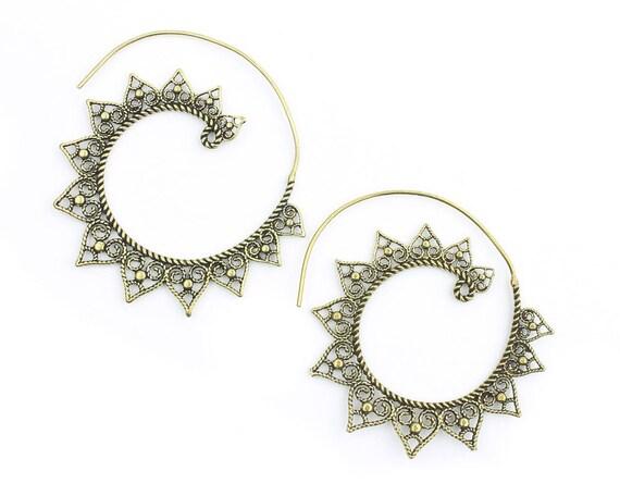 Brass Sun Earrings, Mandala, Spiral, Boho, Bohemian, Tribal Earrings, Festival Jewelry, Gypsy Earrings, Ethnic, Hippie