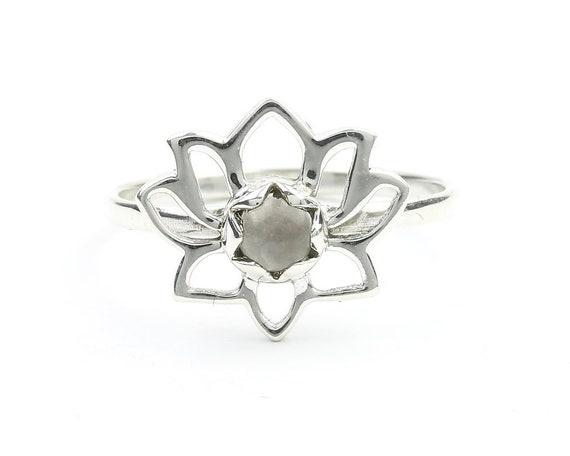 Rose Quartz Lotus Ring, Sterling Silver Lotus Ring, Open Lotus, Yoga Ring, Stone Jewelry, Gemstone, Crystal, Boho, Gypsy, Hippie Jewelry