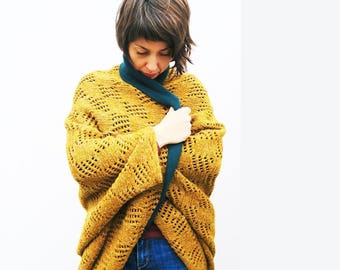 Wool Angora Cardigan,Mustard Petrol Color,Long Version One Size