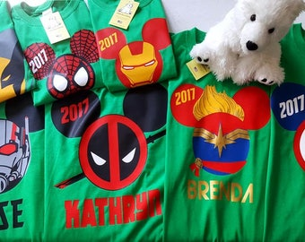 Customizable Family Marvel or DC Comics Superheroes Short Sleeve T-shirts with Optional Back Name or Text - Theme Park or Cruise Vacations