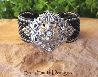 Black and Silver Beaded Cuff Bracelet-One Wrap Leather Bracelet-Wide Cuff Bracelet-Silver Medallion Bracelet-Custom Sizes-The Lavish Lady