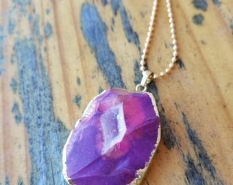 Pink and Purple Druzy Agate Pendant Necklace