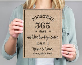 Together 365 Days and I've Loved You Since Day  Year Wedding Anniversary Gift for Him Her | Personalized Burlap Print | Rustic Decor