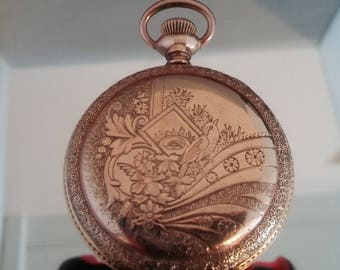 Vintage Hunter Case Pocket Watch. Stunning Gold Filled Case.Complete with Display Dome. Running. Free Shipping!