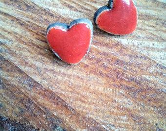 Red Heart Earrings raku ceramic with butterfly clasp