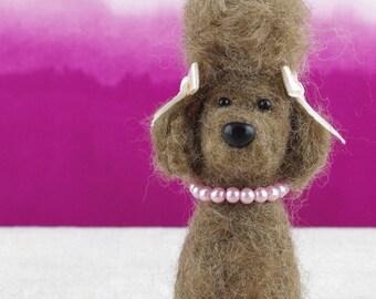 Small needle felted poodle dog, big hair!