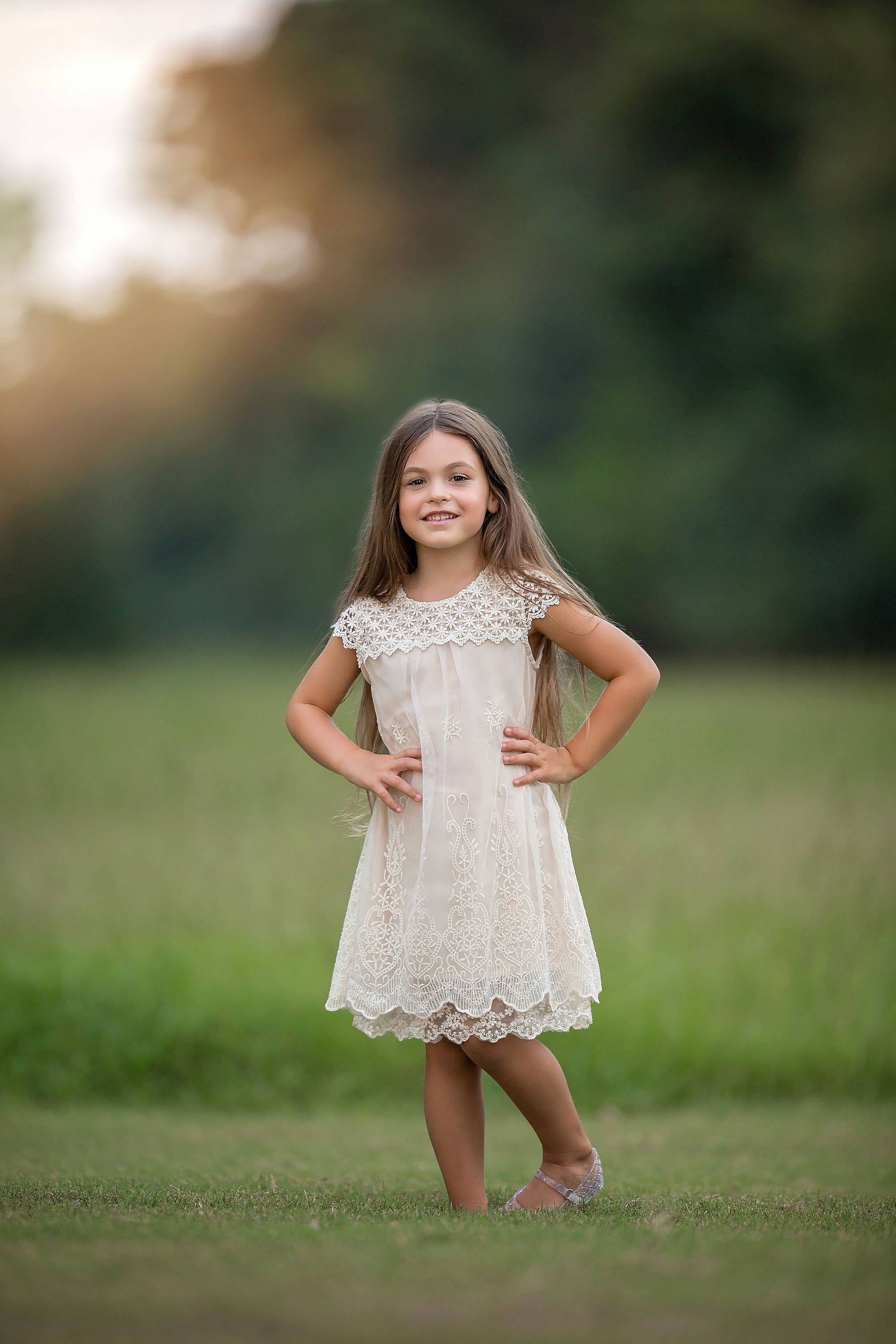Country flower girlIvory Flower Girl DressFlower Girl Dress