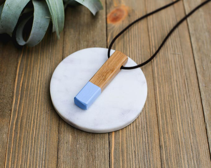 Minimal Wood Necklace: Periwinkle