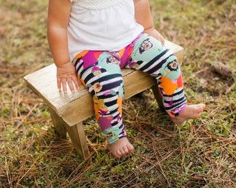 Black Poppy Stripe Leggings for Baby, Toddler, or Girls