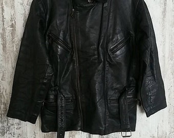 VTG Falco Black Leather Biker Motorcycle Jacket Rock Rockabilly Grunge