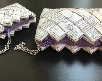 Set of Two Zipper Pouches,Large and Small Zippered Coin Purse,Recycled Book purse,Handmade wallet, wrist mini purse,candy wrapper purses