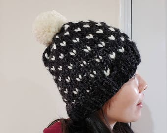 Chunky Pom Pom Hat in Charcoal black and white - Fair isle