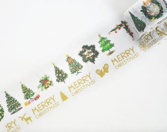 Christmas Tree Washi Tape, Christmas Washi Tape, Masking Tape - WT457