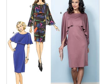 Sewing Pattern Misses' Pullover Dresses w/ Attached Capelets, Butterick Pattern 6479, Fast & EASY,  Women's Dress w/Drape Overlay