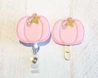Fall Halloween Pink Pumpkin Felt Paperclip l Badge Reel ID Holder l Magnet l Brooch Pin l Planner Clip ID Lanyard Planner Accessories (108)